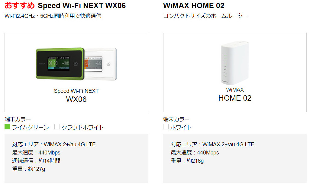 GMO WiMAX2+の月額割引キャンペーン 対応機種